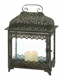 Contemporary Styled Attractive Metal Glass Lantern by Woodland Import