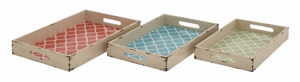 Contemporary Styled Attractive Wood Vinyl Tray by Woodland Import