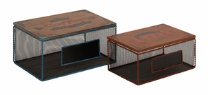 Contemporary Styled Classy Metal Wood Box by Woodland Import