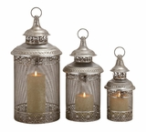 Contemporary Styled Elegant Metal Candle Lantern by Woodland Import
