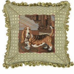 Contemporary Styled Fancy Basset Petit Point Pillow by 123 Creations