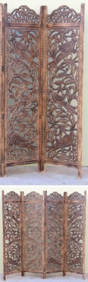 CARVED SCREEN BIRD , WOOD - Room Divider