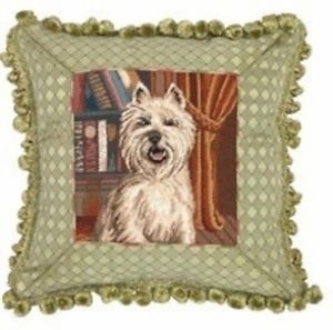 Contemporary Styled Fancy Westie Petit Point Pillow by 123 Creations