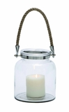Contemporary Styled Glass Metal Lantern Rope Handle by Woodland Import