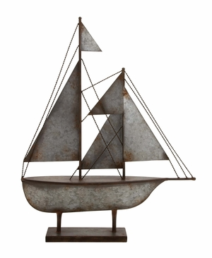 Contemporary Styled Metal Sailboat by Woodland Import