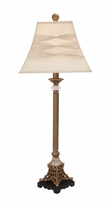 Contemporary Styled Polystone Metal Buffet Lamp by Woodland Import
