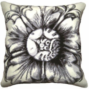 Contemporary Styled Rosette - Black Needlepoint Pillow by 123 Creations