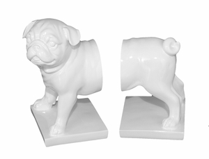 Contemporary Styled Set of Two Resin Dog Bookend by Three Hands Corp