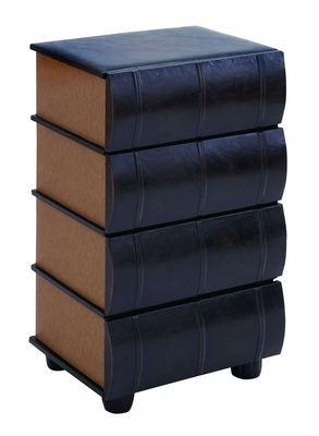 Table Top Drawers As Smooth Leather Books - 55708 by Benzara