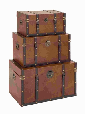 Contemporary Timeless Designed Wood Leather Trunk (Set of 3) Brand Woodland