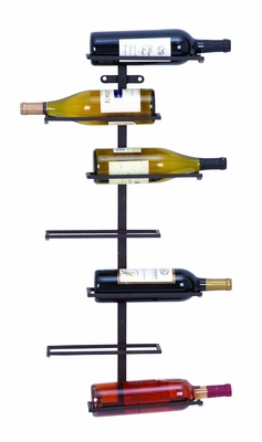 Contemporary Wall Wine Rack With 7 Horizontal Slots Brand Woodland