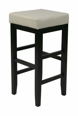 Contemporary White Faux Leather Top Wooden Stool by Office Star