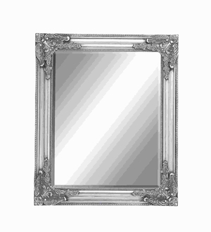 Contemporary Wood Beveled Mirror in Baroque Style accents Brand Woodland