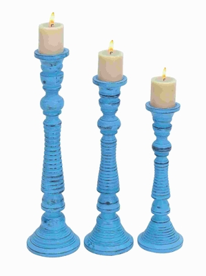 Contemporary Wood Candle Holder with Wide Base (Set of 3) Brand Woodland