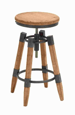 Contemporary Wood Metal adjust Bar Stool with Metallic Moldings Brand Woodland