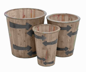 Contemporary Wood Planter with Glossy Finish (Set of 3) Brand Woodland