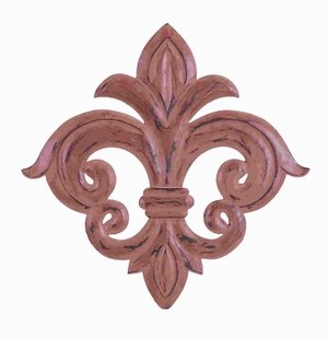 Contemporary Wood Wall Fleur Di Lis with Matte Red Finish Brand Woodland