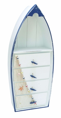 Contemporary Wooden Boat Cabinet with Sea Theme in Blue and White Brand Woodland