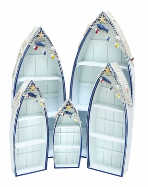 Contemporary Wooden Boat in White and Blue for Storage - Set of 5 Brand Woodland