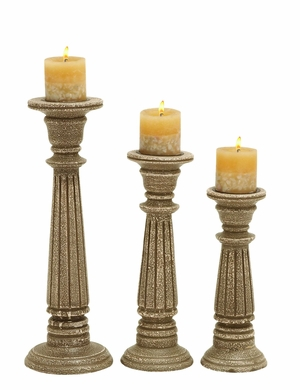 Contemporary Wooden Candle Holder (Set of 3) with Rustic Look Brand Woodland