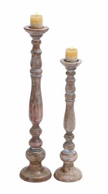 Contemporary Wooden Candle Holder with Antique Finish - Set of 2 Brand Woodland