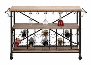Convenience Wine Table - Metal and Wood Wine Table to Roll Anywhere Brand Woodland