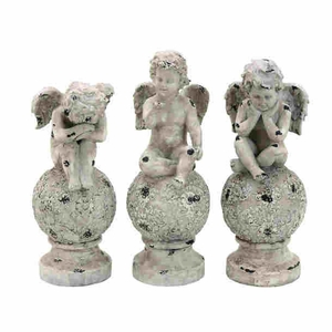 Conventional Decor Poly Stone Cherub in Elegant Design (Set of 3) Brand Woodland
