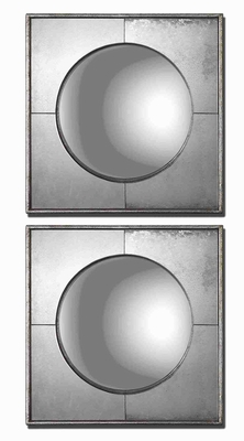 Convex Mirror Set with Champagne Silver Leaf Frame Brand Uttermost