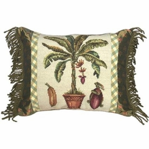 Cool Banana Tree Needlepoint Pillow by 123 Creations