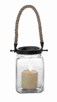 Contemporary Designed Vintage Canning Jar Glass And Rope Candle Lantern - 23843 by Benzara