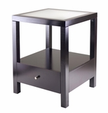 Copenhagen End Table with Glass Top by Winsome Woods