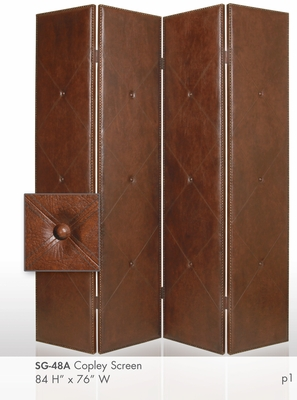 Copley Brown Faux Leather Screen Crafted with Antiqued Brass Brand Screen Gem