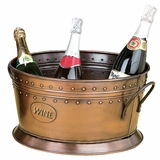 Copper Ice Bucket Party Planter with Embossed Wine Word Brand Woodland