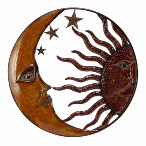 Copper Sun Moon & Star Wall Art Decor Sculpture, Circle Wall Decor Brand Woodland