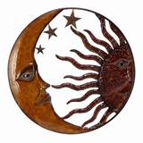 Copper Sun Moon & Star Wall Art Decor Sculpture - Circle Wall Decor Brand Benzara