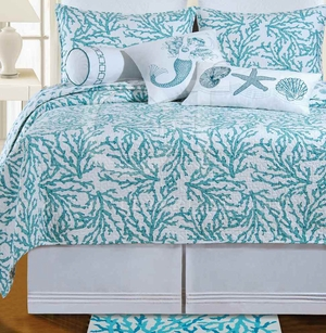 Cora Blue Cotton Twin Quilt with Cotton Fill Brand C&F