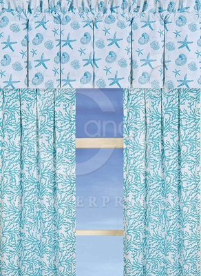 Cora Blue Drapery Panel Each 50 x84 Inches Brand C&F