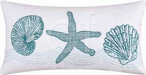 Cora Blue Embroidered Starfish Pillow 12 x24 Inches Brand C&F