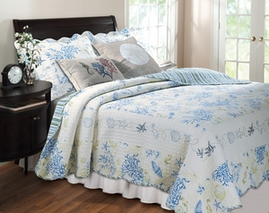 Coral Blue Quilt Coastal Theme Classic Queen Set Brand Greenland