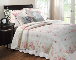 Coral Red Quilt Coastal Sensation Royal Queen Set Brand Greenland