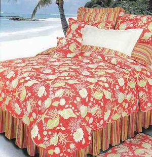 Coral Shells Quilt Handmade Luxury Cal Queen  Quilts Brand C&F