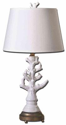 Coral White Table Lamp with Detailing in Silver Brand Uttermost