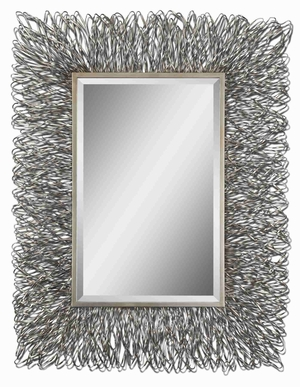 Corbis Modern Wall Mirror with Hand Forged Silver Alloy Frame Brand Uttermost