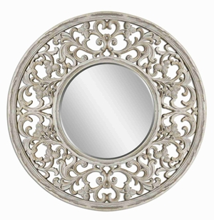 Cordellera Wall Mirror with Large Distressed Antique Ivory Frame Brand Uttermost