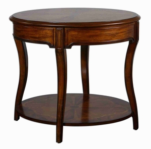 Corianne Round Lamp Table With Ceder Cherry and Mahogany Inlay Brand Uttermost