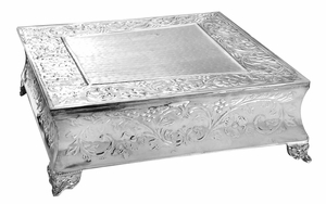 Cosmo Square Silver Plated Wedding Cake Stand, Square Cake Stand Brand Woodland