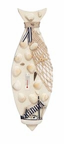 Costal Nautical Decor Wood Fish and Shells with Thermometer Brand Woodland