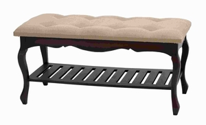 Cotemporary Wood Burlap Bench with Curved Legs And Spacious Rack Brand Woodland