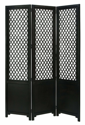Cottage Wood Room Divider 3 Panel Carved in Black Color Brand Woodland