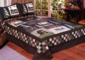 Cotton Filled Mountain Trip Queen Sized Quilt by American Hometex